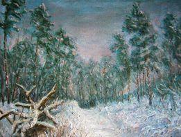 """Картина маслом на холсте """"Зима в лесу"""""""