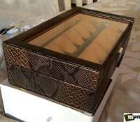 Image of 12 slots snake skin watch Box.