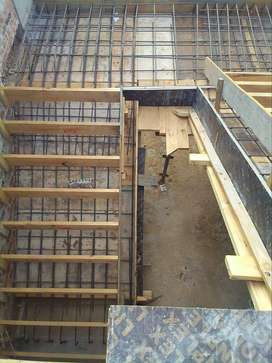 In situ concrete slabs and steel fixing