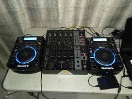 Two Numark cdj's and 5 channel Berhinger Mixer.