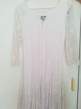 White lace insert dress