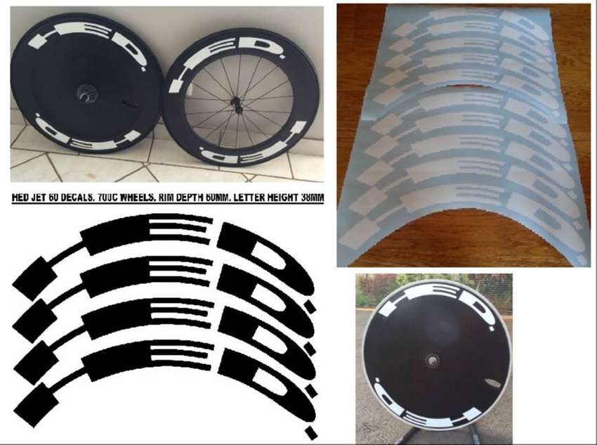Rim stickers vinyl cut decals for HED wheel sets 0