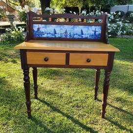 Antique yellow and emboya wood wash table with delft tiles