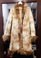 Lekki stylowy płaszcz wiosna M/L zamszowy kożuch vintage