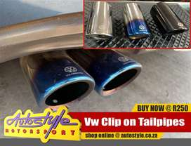 Vw clip on tail pipes to fit all models incl. GTI, R, etc available in