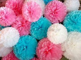 Помпоны из бумаги, цветы из бумаги, декор для праздника, для свадьбы