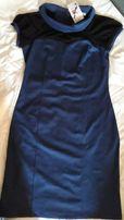 деловое синее женское платье с черным гипюром, разм. 52