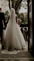 ** Suknia ślubna, 36 (S), kolor śmietankowy, welon 3,5m + koło **