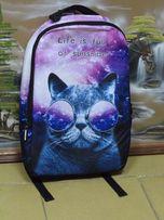 Рюкзак кот в очках. Галактика кот школьный рюкзак.