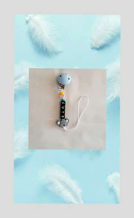 Baby pacifier clip plus teether