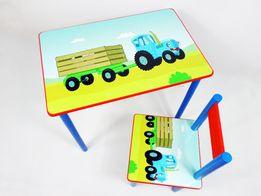 Набор детской мебели (стол и стул+ящик) Синий Трактор от 1-6 лет