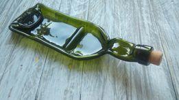 Тарелка из винной бутылки с перегородкой/ плавленная бутылка/ фьюзинг