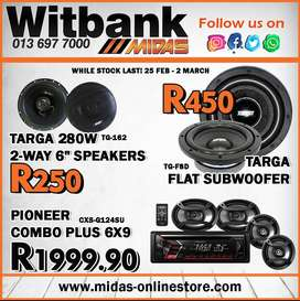 Turn up the volume with these amazing specials on Targa & Pioneer