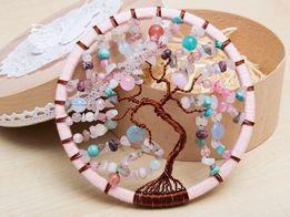 """Ловец снов с натуральными камнями. Декор """"Дерево жизни""""."""