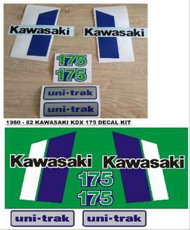Decals graphics set for a 1980 Kawasaki KDX 175 motorcycle