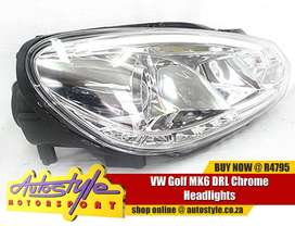 VW Golf MK6 DRL Chrome Headlights sold as a pair suitable for Volkswag