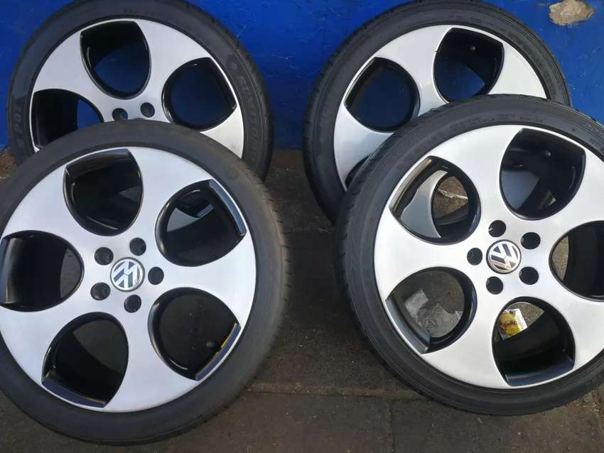A set of 18 inch mags and tyres for golf 5,6, and 7