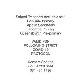 SCHOOLING TRANSPORT FOR MALVERN/CHATSWORTH