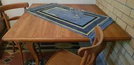 Antique square Dining Table 5 Bentwood chairs