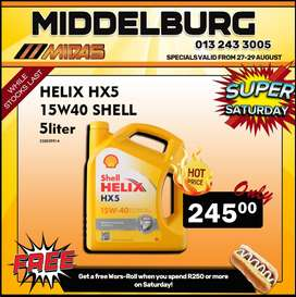 Shell Helix HX5 15W40 5L ONLY R245 at Middelburg Midas!