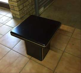 LOUNGE COFFEE TABLES ( Black with gold inlay on sides )