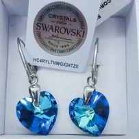 Шикарный подарок любимой девушке серебряные серьги сердце Swarovski