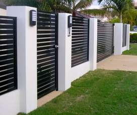 GALVANIZED STEEL FRAMED NUTEC SLATED FENCING AND DRIVEWAY GATES