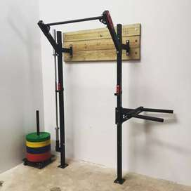 Wall mounted squat rack and pull up bar heavy duty frames with extras