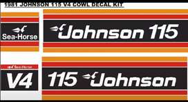 1981 Johnson v4 115 outboard motor cowl stickers decals graphics kit