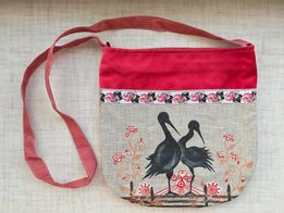 Женская сумка через плечо кросс-боди ручная работа текстильная сумочка