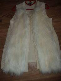 Шикарный удлиненный меховый жилет кофта кардиган H&M 44-46 р S-M