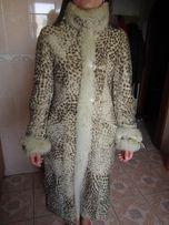 шуба натуральная овчина мутон под леопарда