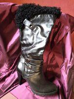 Сапоги осенние женские р 38 черные утепленные каблук 8 см