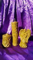 свечи из воска, восковые свечи к Новому году, свічки бджолиного воску