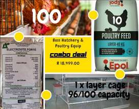 Combo Deal - Chicken Layers, Layer Cage, Feed and Vitamins