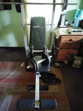 Fitness bench, bench press, weights included