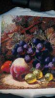 Подарок. Натюрморт. Шикарная картина вышита крестиком. Виноград