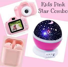 Kids camera, bluetooth earbuds with starlight combo