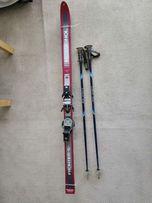 Narty zjazdowe Rossignol 160 cm + wiązania + kijki