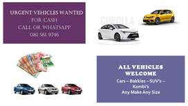 URGENT VEHICLES WANTED FOR CASH