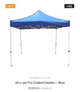 3m x 3m Pvc Coated Gazebo – Blue/Red/White