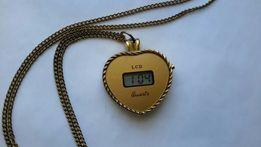 Klasyk zegarek LCD QUARTZ serduszko na szyję z czasów PRL wisiorek.