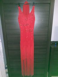 Mary's Tune Paris Style sukienka czerwona frędzle długa M-XXL 38-46