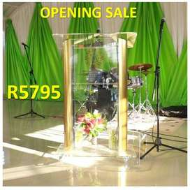 Contemporary Gold Clear Front Pulpit Opening Sale
