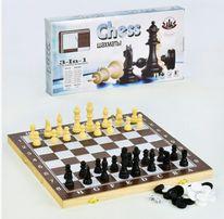 Шахматы деревянные 3 в 1 шашки нарды домино F 22016 настольные игры