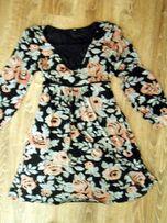 Sukienka w kwiaty dzianinowa rozmiar 40- BOHO