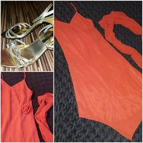 Sukienka z różą+szal USA 38;40 Złote sandały 36