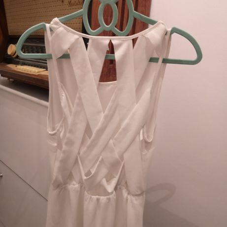 Biała sukienka h&m krzyżakowe plecy szyfonowa letnia wesele szyfon S Dąbrowa Górnicza - image 2
