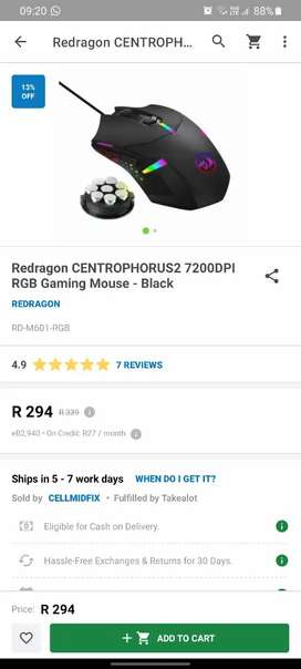 Redragon Centrophorus 2 gaming mouse for sale. New