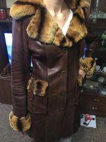 Кожаная натуральная куртка дубленка с натуральним мехом Udekasi M зима